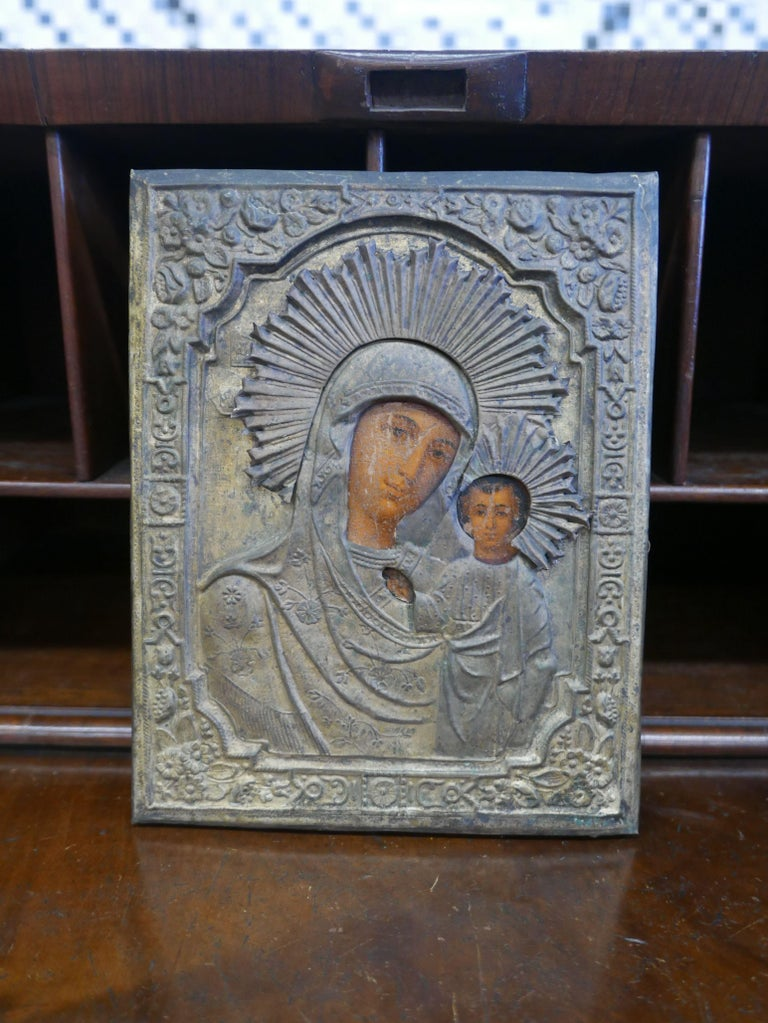 19th century repousse brass over oil on panel after