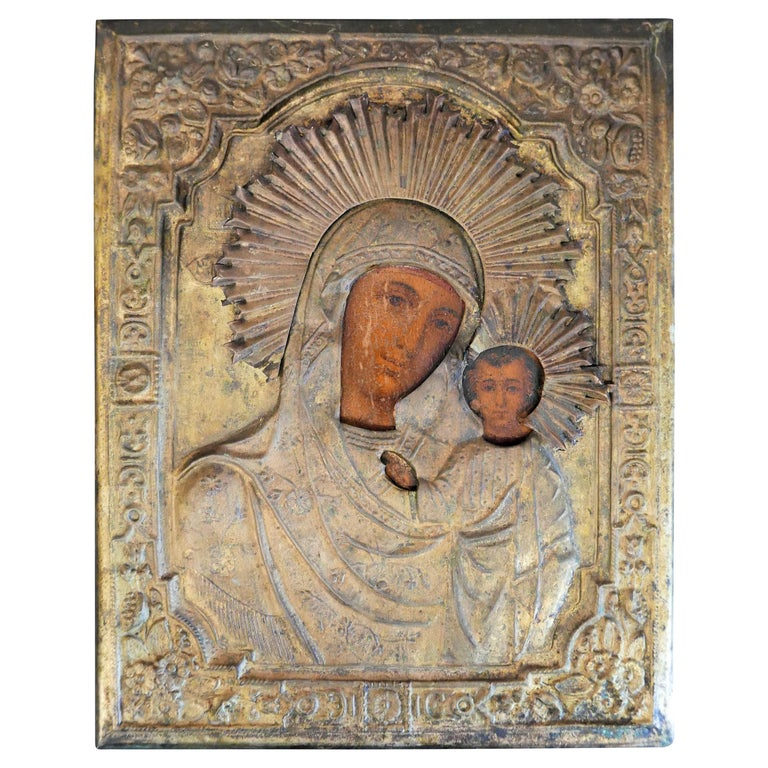 """19th Century Russian Icon """"Our Lady of Kazan"""" St. Petersburg For Sale"""
