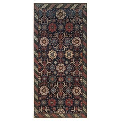 19th Century Russian Karabagh Geometric Black, Indigo and Red Wool Runner