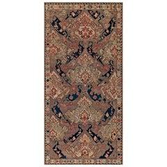 19th Century Russian Kilim Carpet in Palette of Blue, Beige, and Orange