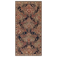 19th Century Russian Kilim Carpet in Palette of Blue, Beige, and Orange