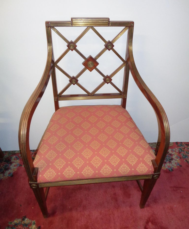 19th Century Russian Mahogany Salon Set with Brass Inlay, circa 1820 In Excellent Condition For Sale In West Hollywood, CA