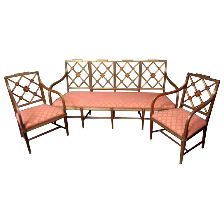 19th Century Russian Mahogany Salon Set with Brass Inlay, circa 1820 For Sale