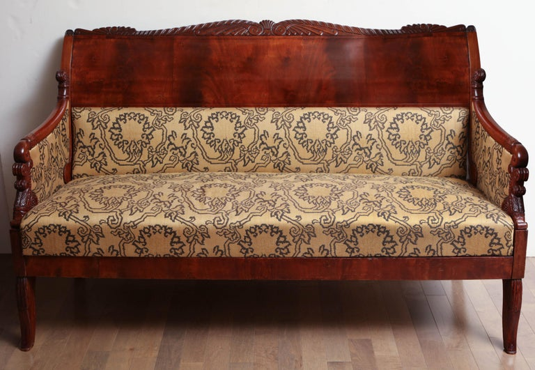 19th Century Russian neoclassical sofa in mahogany, upholstered in Etro fabric.