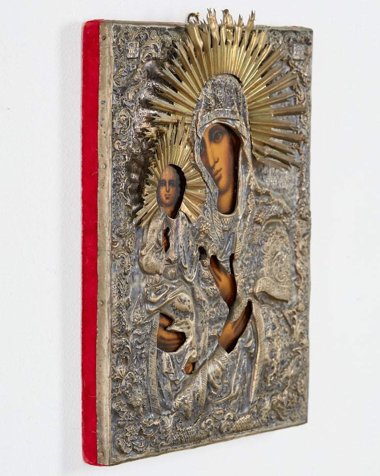 19th Century Russian Orthodox Icon Madonna and Child For Sale 4