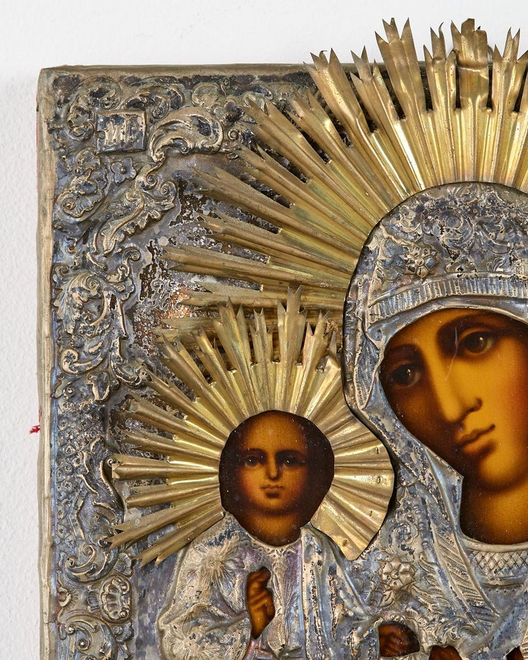 Metal 19th Century Russian Orthodox Icon Madonna and Child For Sale