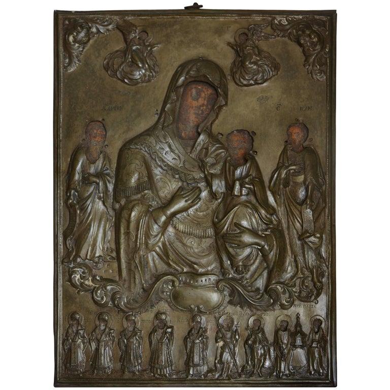 19th Century Russian Orthodox Icon Silver Plate Oklad For Sale