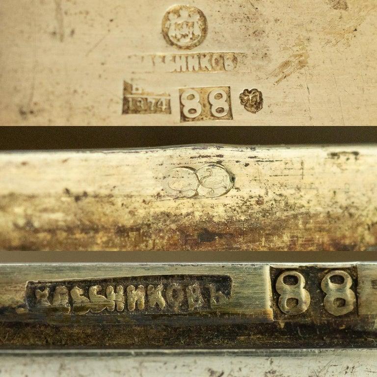 19th Century Russian Silver and Enamel Cigarette Case, Khlebnikov, circa 1874 For Sale 4