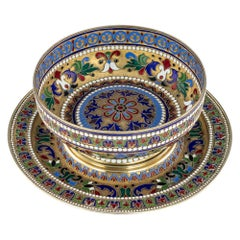 19th Century Russian Silver-Gilt and Enamel Bratina Bowl on Stand, circa 1875