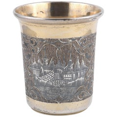 19th Century Russian Silver-Gilt And Niello Beaker