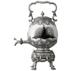 19th Century Russian Solid Silver & Enamel Tea Kettle, Shanks & Bolin circa 1886