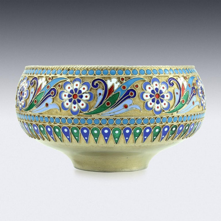 19th century Imperial Russian silver-gilt & cloisonne' enamel bowl, of very fine quality, richly gilt and beautifully enamelled with multicolored scrolling foliage, in red, white, green powder blue and dark blue, on textured gilt ground, with