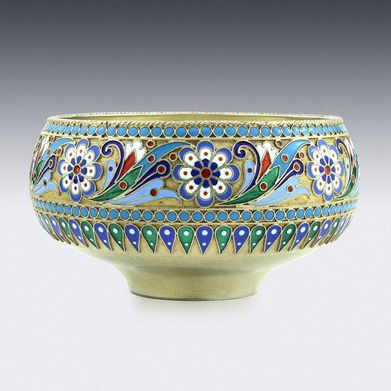 19th Century Russian Solid Silver-Gilt & Enamel Bowl, Ovchinnikov, c.1895 In Good Condition In Royal Tunbridge Wells, Kent