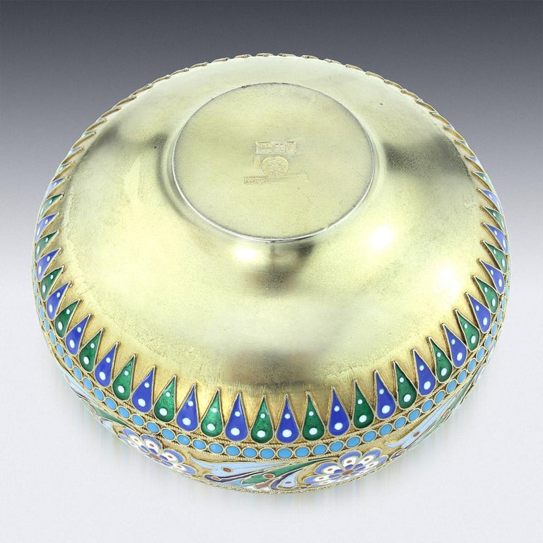 19th Century Russian Solid Silver-Gilt & Enamel Bowl, Ovchinnikov, c.1895 1