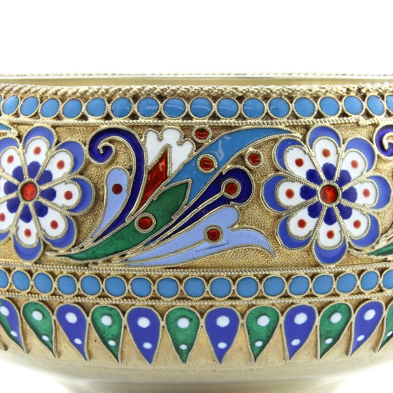 19th Century Russian Solid Silver-Gilt & Enamel Bowl, Ovchinnikov, c.1895 2