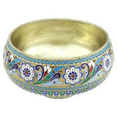 19th Century Russian Solid Silver-Gilt & Enamel Bowl, Ovchinnikov, c.1895