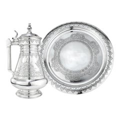 19th Century Russian Solid Silver Tankard on Tray, 1880