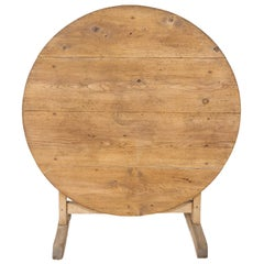 19th Century Rustic Bleached Pine French Vendange or Wine Tasting Tilt-Top Table