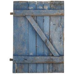 19th Century Rustic Blue Door with Original Iron Hardware