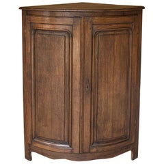 19th Century Rustic Country French Demilune Corner Cabinet
