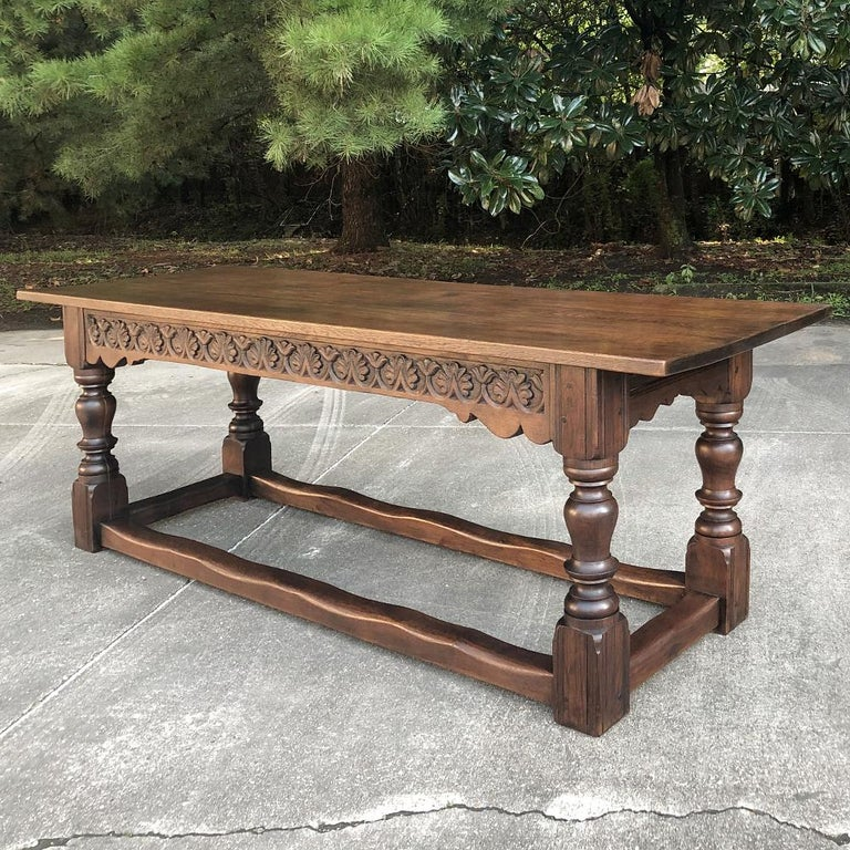 Oak 19th Century Rustic Country French Farm Table For Sale