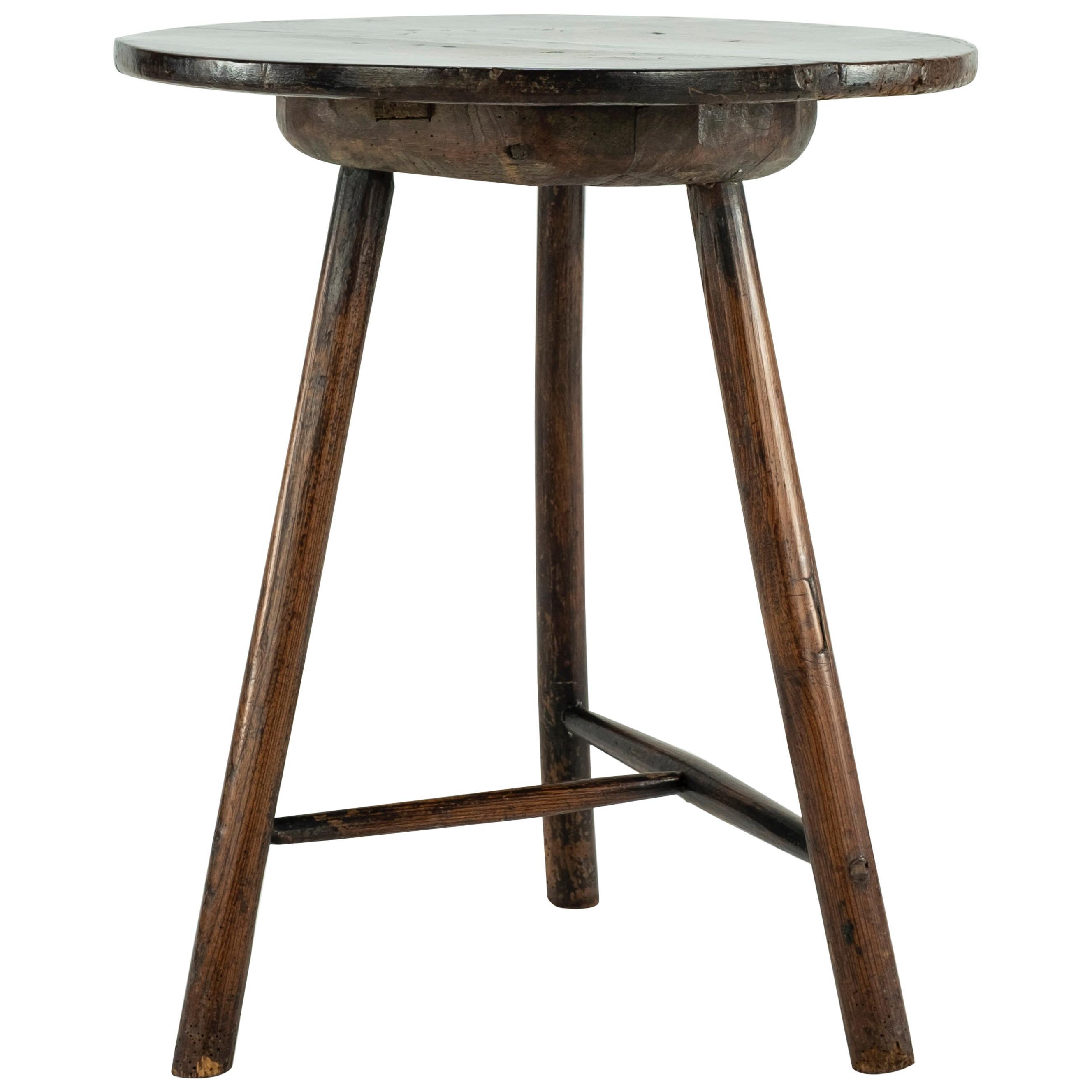 19th Century Rustic Elm Cricket Table