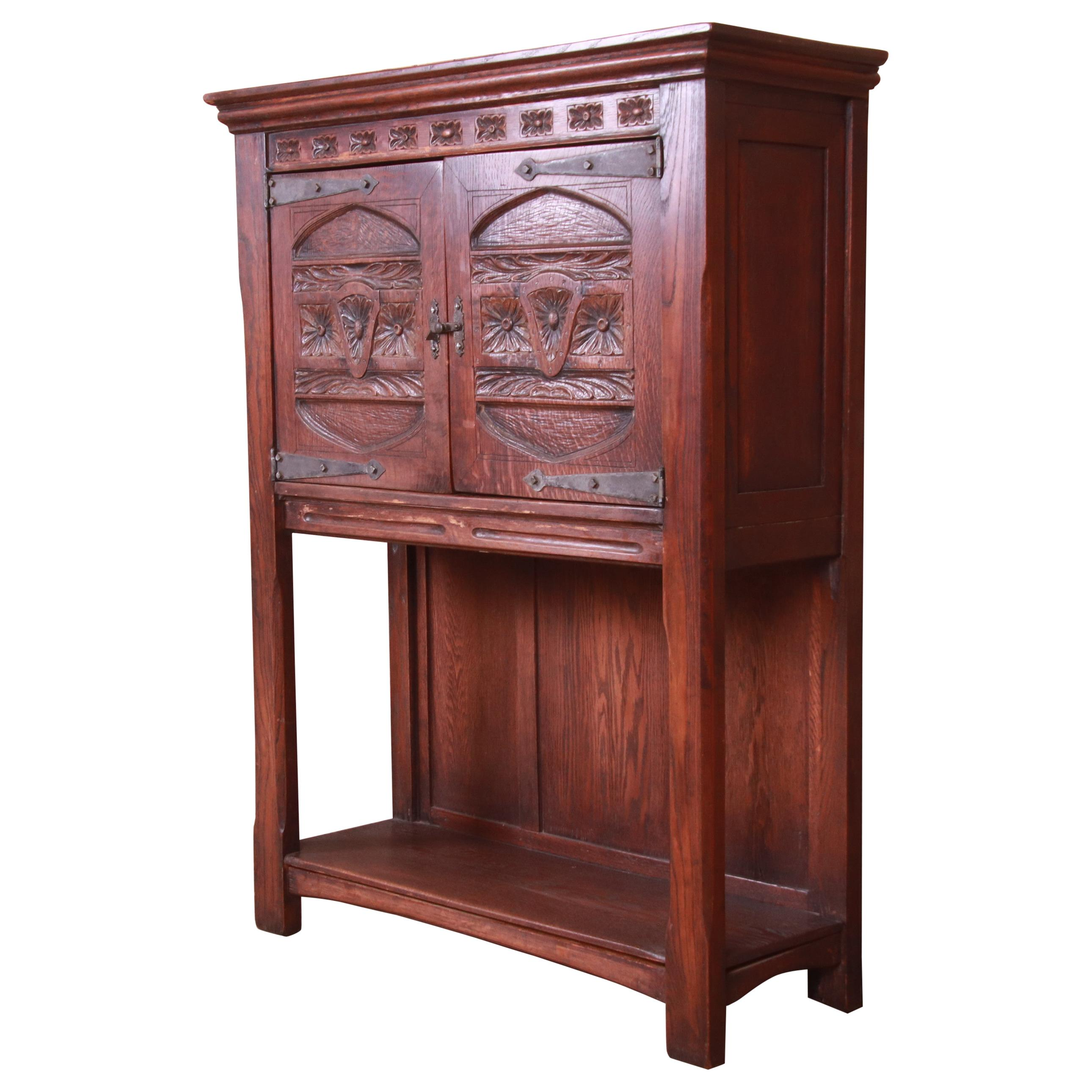 19th Century Rustic European Carved Oak Bar Cabinet