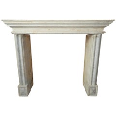19th Century Rustic Fireplace in Hard French Limestone