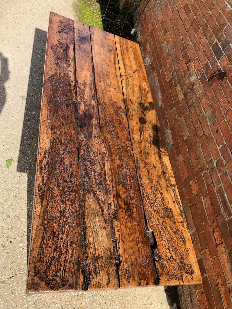 19th Century Rustic French Fruitwood Farm Table For Sale 10