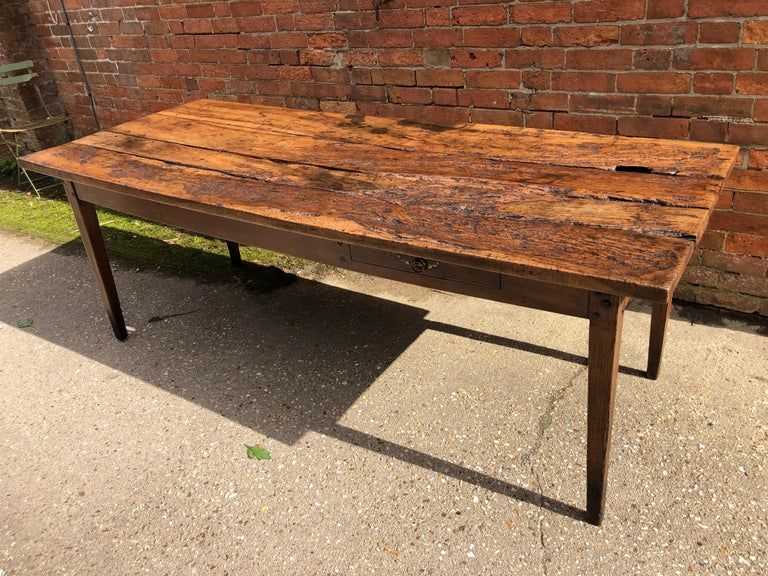 French Provincial 19th Century Rustic French Fruitwood Farm Table For Sale