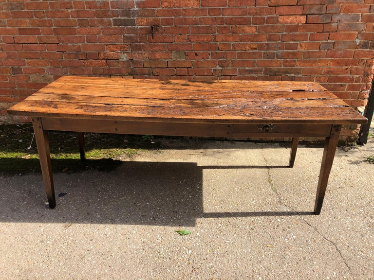 19th Century Rustic French Fruitwood Farm Table In Distressed Condition For Sale In Poole, GB