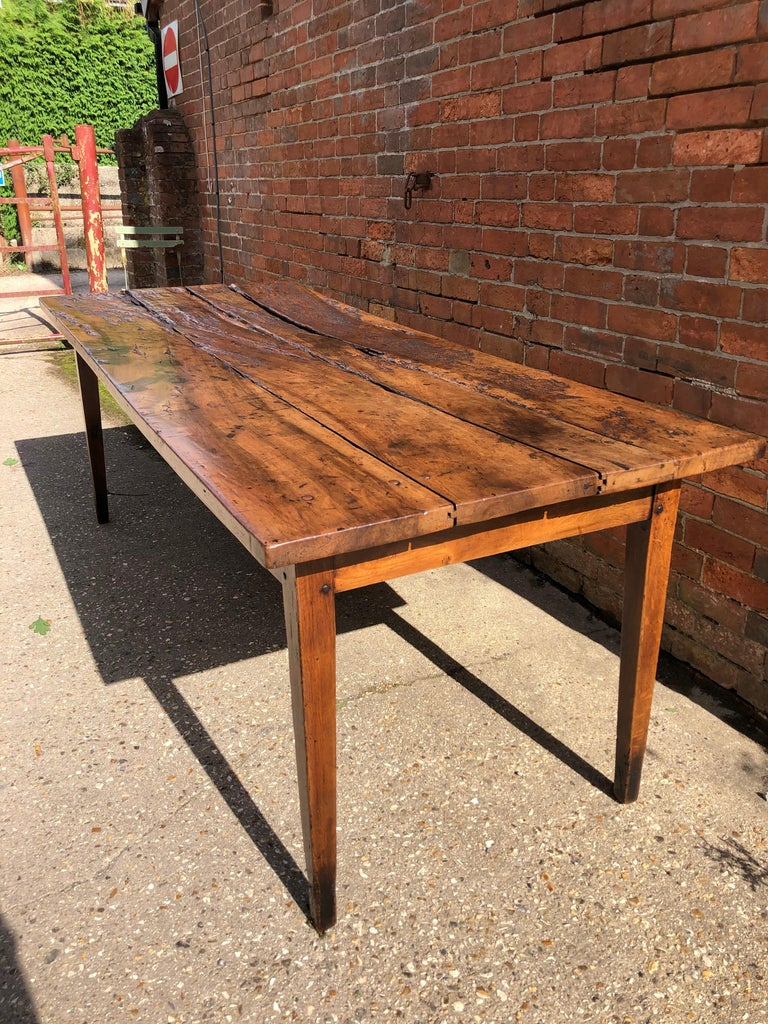 19th Century Rustic French Fruitwood Farm Table For Sale 1