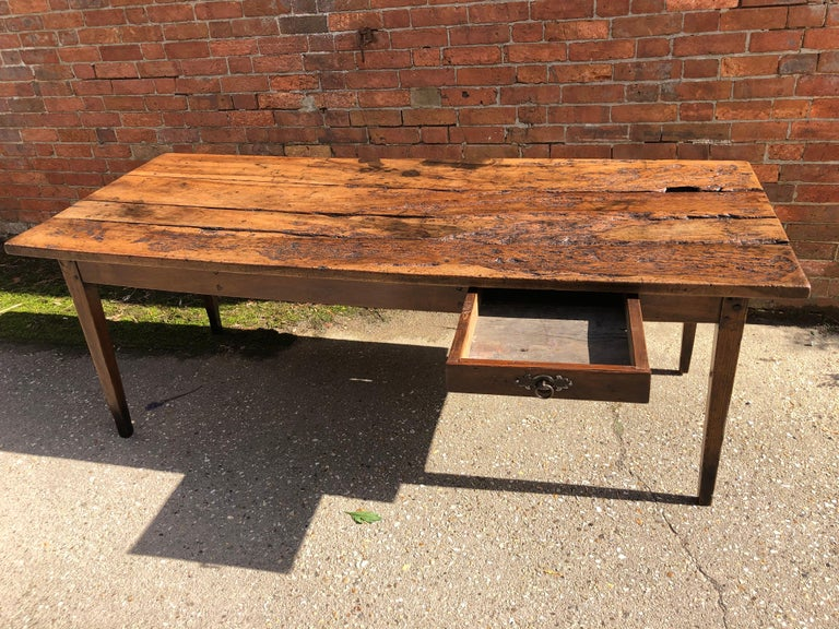 19th Century Rustic French Fruitwood Farm Table For Sale 2