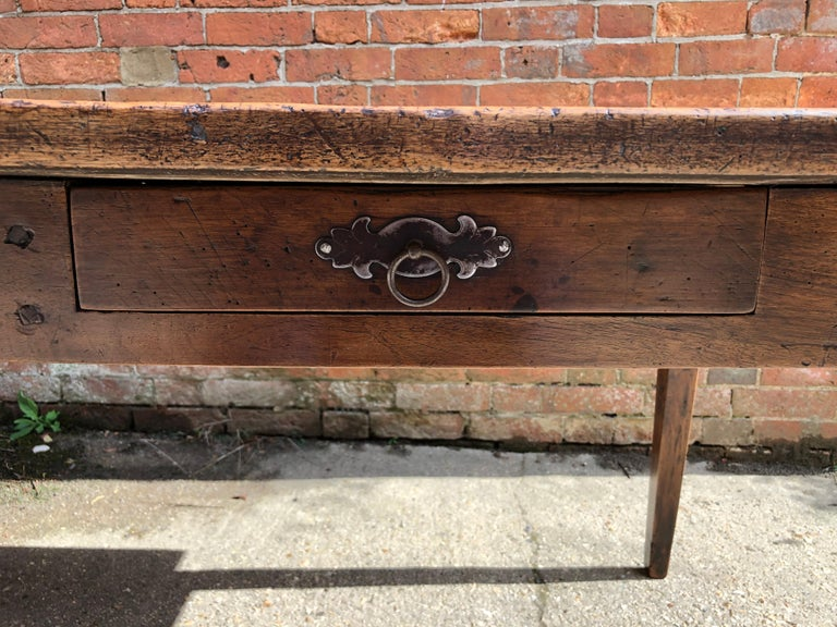 19th Century Rustic French Fruitwood Farm Table For Sale 3