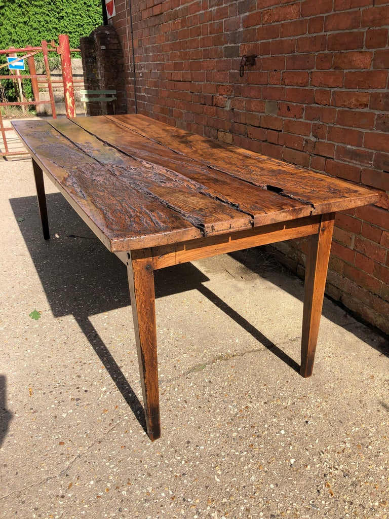 19th Century Rustic French Fruitwood Farm Table For Sale 4