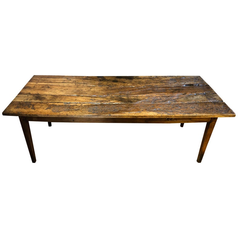 19th Century Rustic French Fruitwood Farm Table For Sale