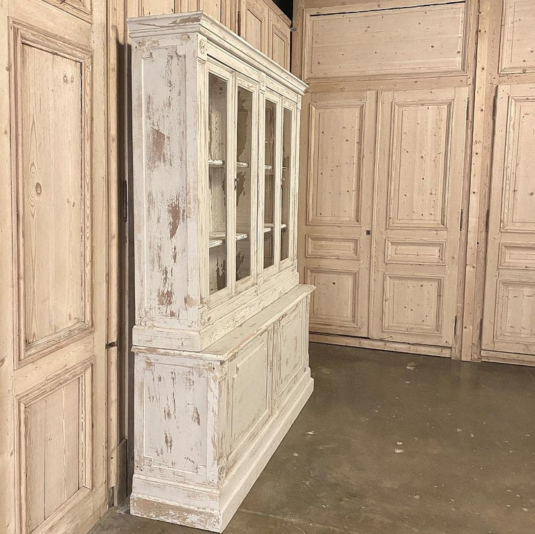 Hand-Crafted 19th Century Rustic French Neoclassical Bookcase For Sale