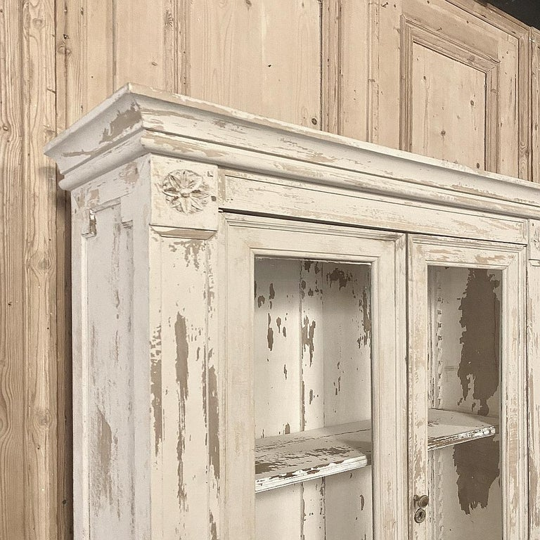 Wood 19th Century Rustic French Neoclassical Bookcase For Sale