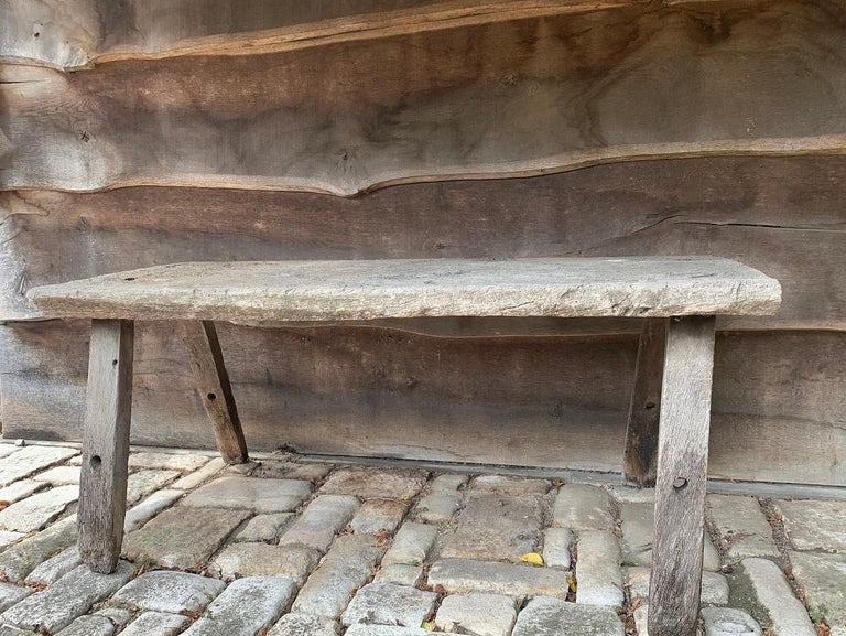 19th Century Rustic French Oak Sidetable For Sale 7