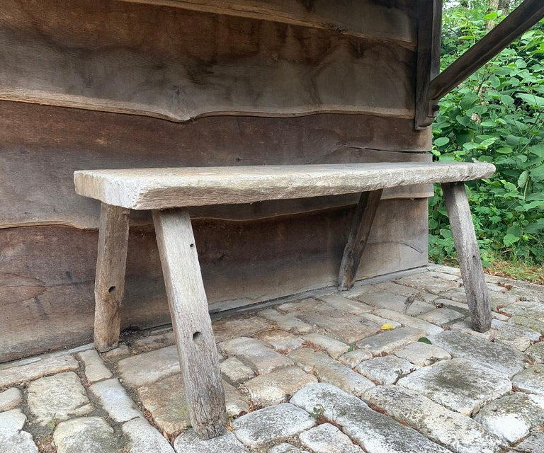 A 19th century French rustic table from the Vosges region. Tables like this were multifunctional. People worked on them, sit on it, eat etc... Remarkable with this on is the one piece top. To find oak planks of this width the tree had to be