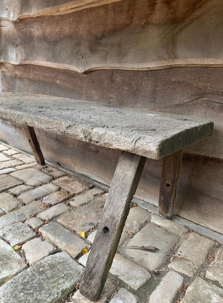 19th Century Rustic French Oak Sidetable For Sale 4