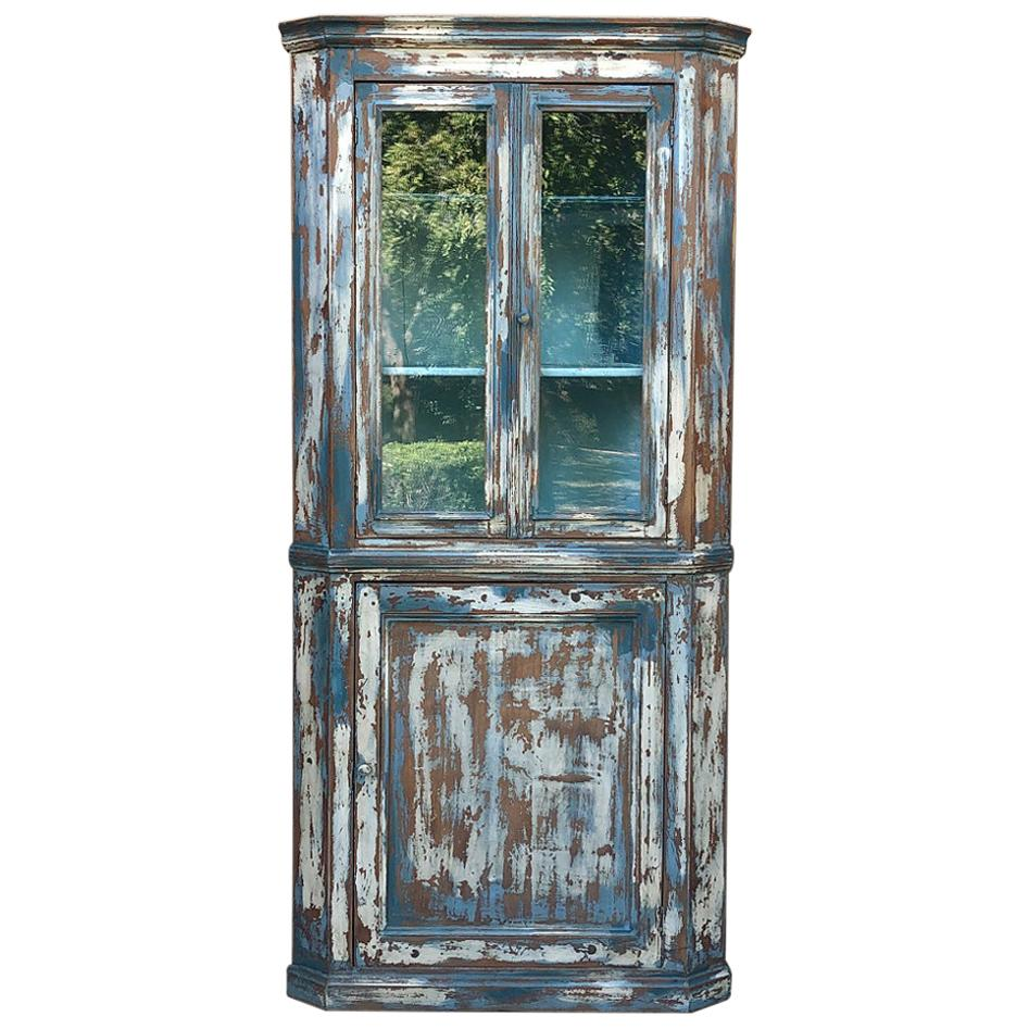 19th Century Rustic French Painted Corner Cabinet
