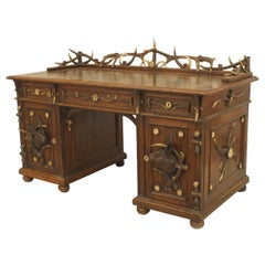 19th Century Rustic German Horn and Carved Oak Desk