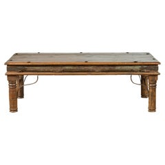 19th Century Rustic Indian Coffee Table with Painted Apron and Iron Accents