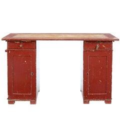 19th Century Rustic Painted Swedish Pedestal Desk