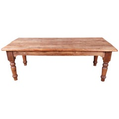 19th Century Rustic Pine American Harvest Farm Table with Turned Legs