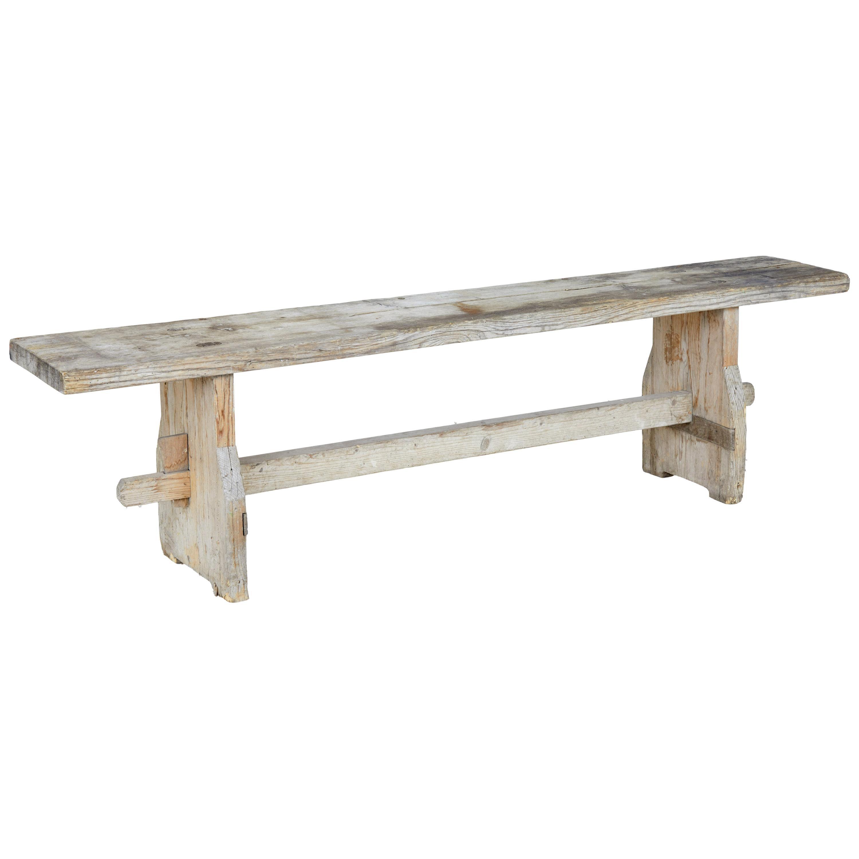 19th Century Rustic Scandinavian Pine Bench
