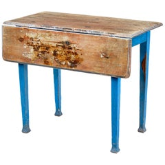 19th Century Rustic Swedish Painted Pine Drop-Leaf Table