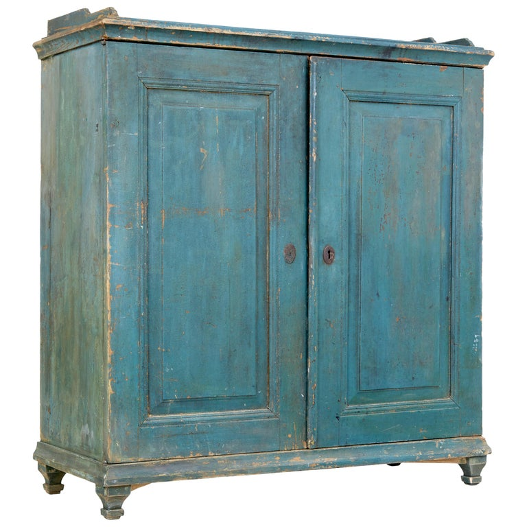 19th Century Rustic Swedish Painted Pine Sideboard 1