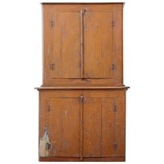 19th Century Rustic Swedish Pine Painted Kitchen Cupboard